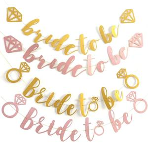 Hen Bachelorette Party Bride To Be Bridal Shower Party Decorations Supplies Rose Gold Glitter Bride To Be Banner