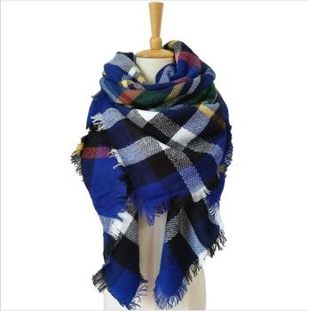 fashion plaid warm custom winter scarf shawl yiwu/ladies knitted cashmere women winter scarf woman