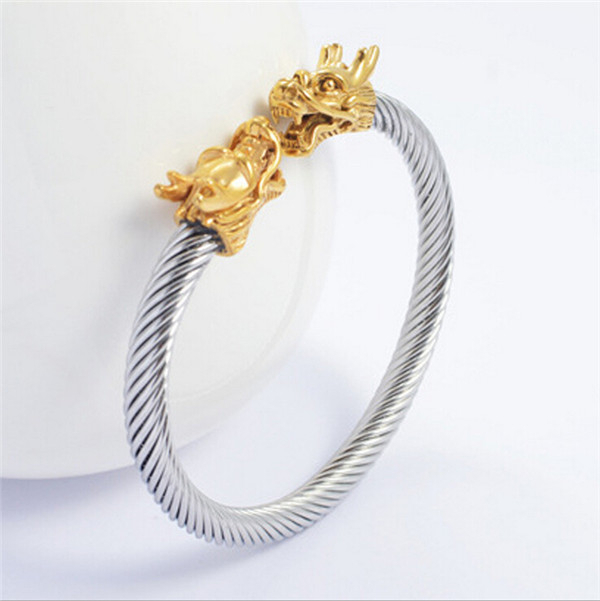 Yiwu Aceon gold plated stainless steel wire dragon head bangle