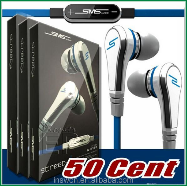 Professional Mini mini SMS Street by 50 Cent Street with MIC and Volume Control Earphones headphones for MP3 Player iPhone