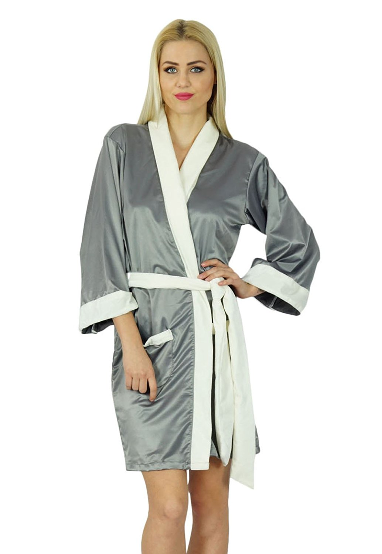 8086c251f7 Get Quotations · Bimba Women Short Satin Robe Velvet Belt Getting Ready  Bridesmaid Custom Robe Coverup