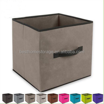 12 Inch Foldable Nonwoven Large Storage Cube Basket Bin