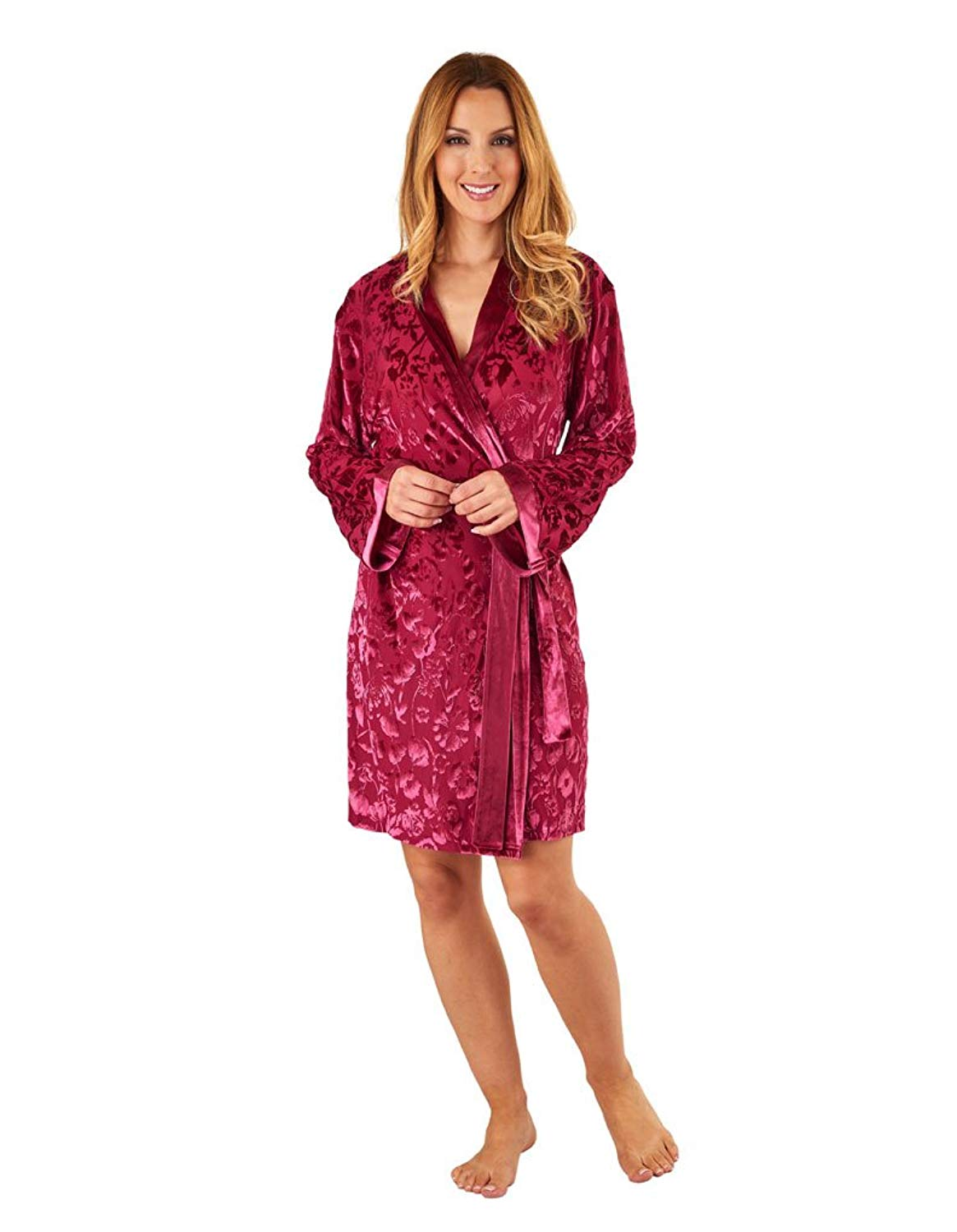 093ad6ee7a63 Get Quotations · Slenderella GL8713 Women s Raspberry Red Floral Long  Sleeve Dressing Gown