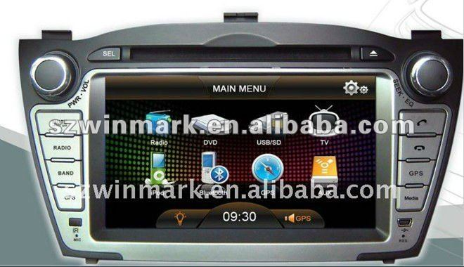 HYUNDAI-IX35 2 DIN 7 inch TFT LCD special car DVD GPS player with Bluetooth, IPOD,TV, radio, SD, USB, steering wheel control,etc