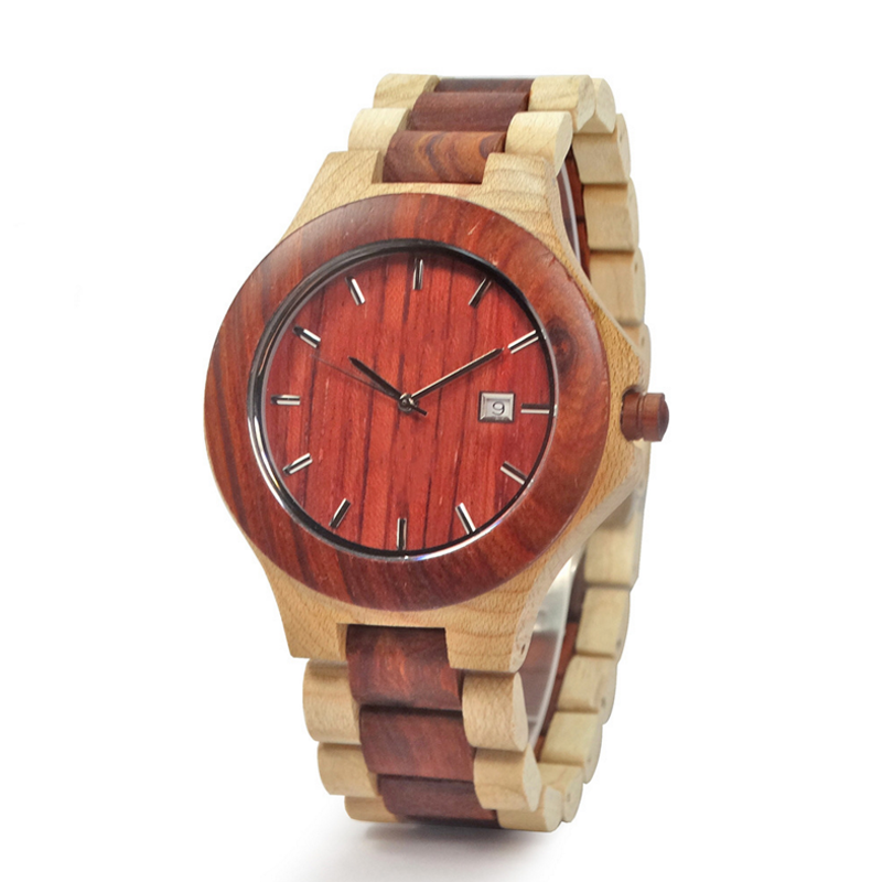 <strong>Date</strong> and day display red and maple wood watches for men