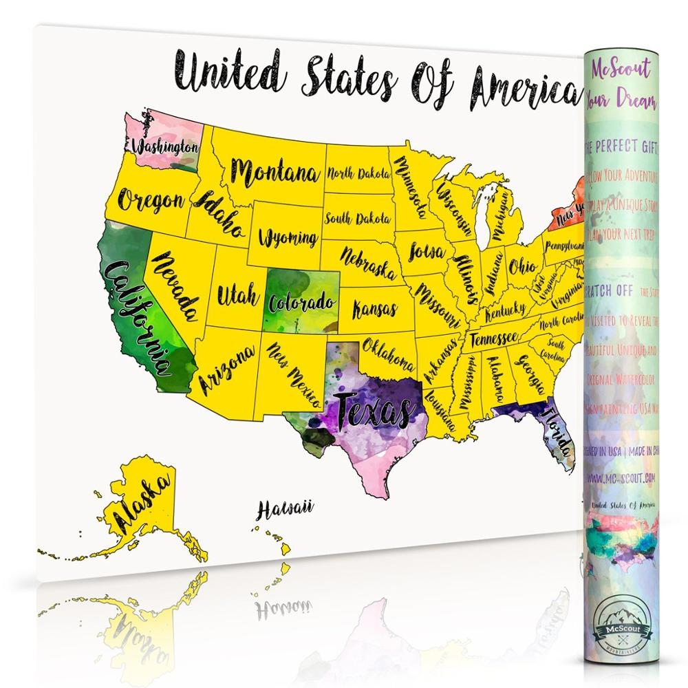 Scratch Off Map Usa Travel Watercolor By Mcscout Maps Mark Your ...