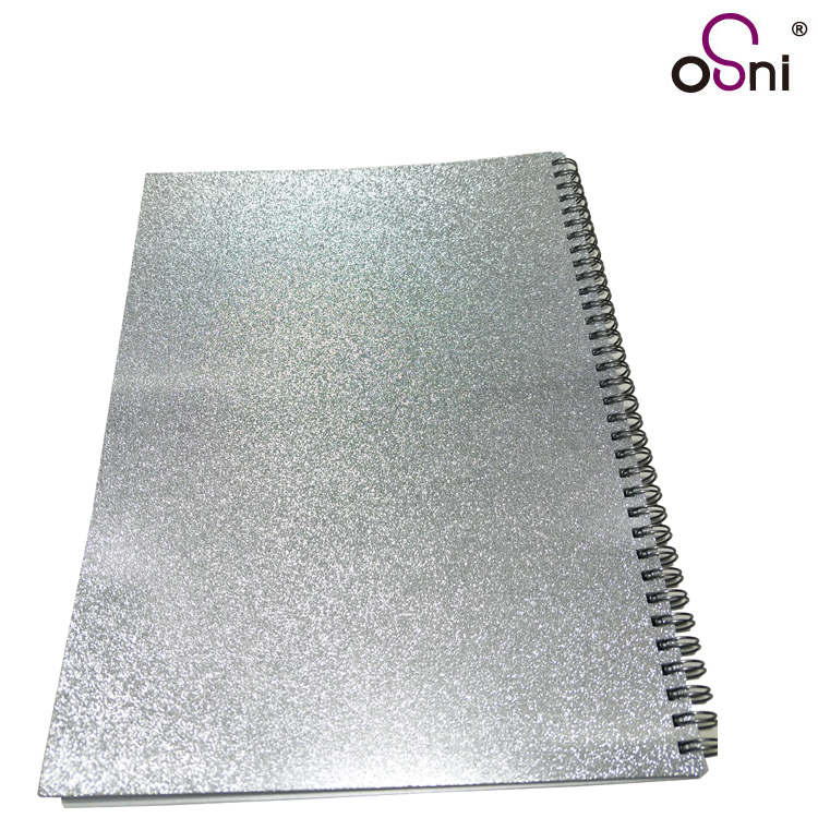 Wholesale perforation line sheet 4 punch hole inside page fit for ring binder A4 large glitter glossy notebook