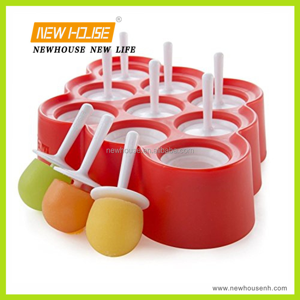 NEW Red 9 Mini Ice Pop Molds Simultaneously Sticks with Drip Guards