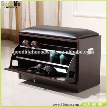 Shoe Storage Cabinet With Cushion Seat Bench