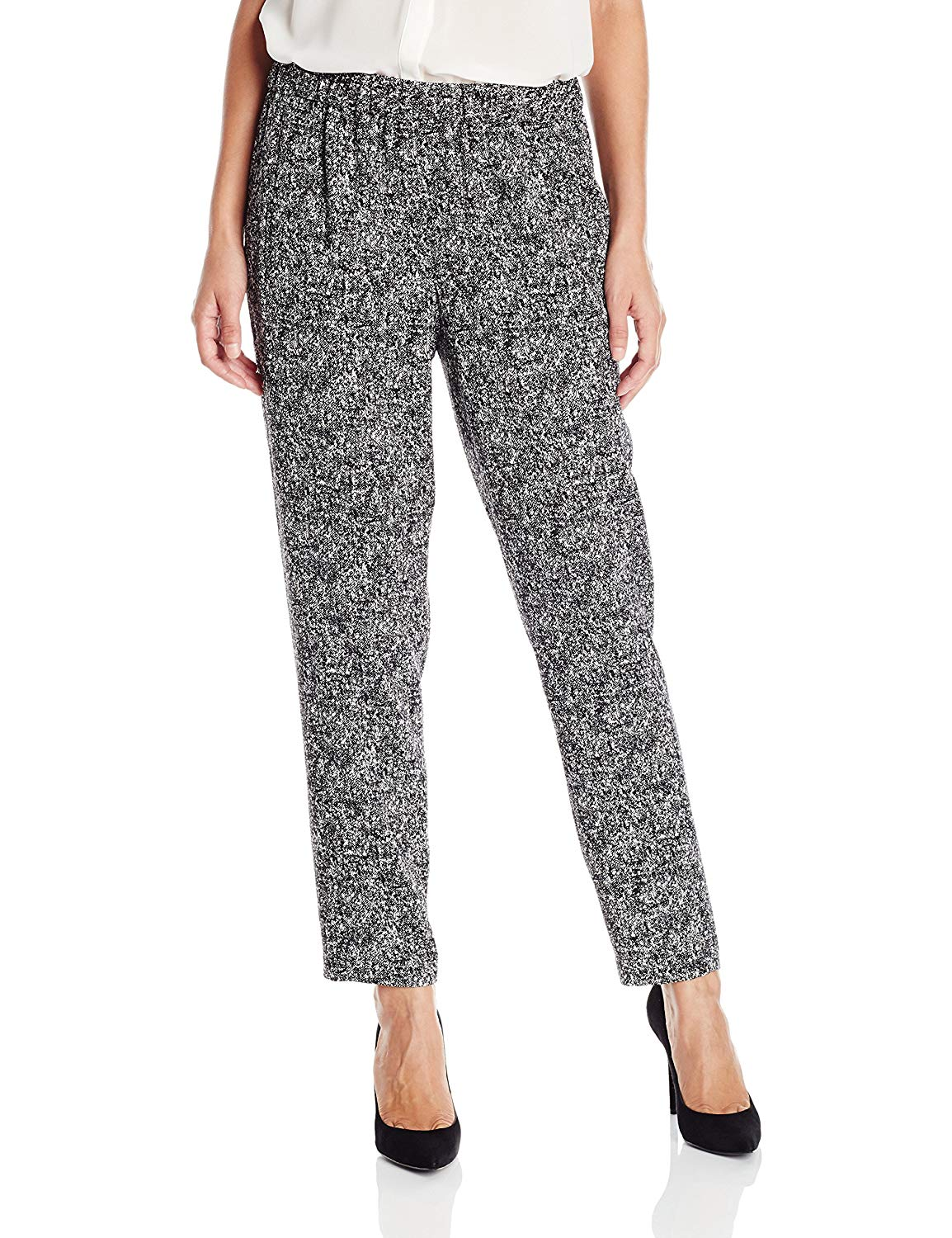 dd7e58e17516d Get Quotations · Vince Camuto Women s Slim Texture Tweed Leg Pull-on Pants