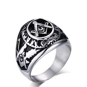 Religious titanium steel antique masonic rings men