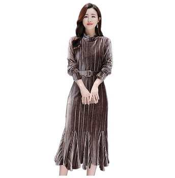 Spring and Autumn new style fashion golden velvet long sleeve pleated fishtail skirt cheep price high quality garment wholesale