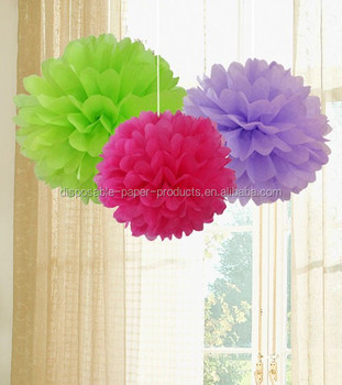 Paper Crafts Pom Poms Kids Birthday Party Decor Set Of Lavender Light Green Pink Tissue Sets Decorations 1st