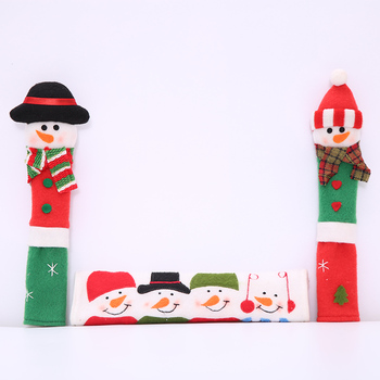 Christmas Snowman Refrigerator Microwave Oven Door Anti-static Handle Covers Festival Decoration