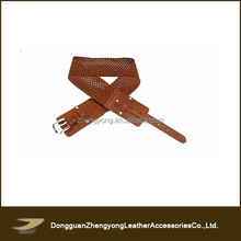 high quality fashionable ladies braided leather belt wide belt
