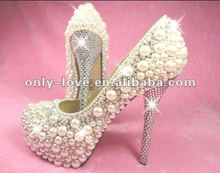 BS560 custom make 14cm heel platform pearls with rhinestones bridal wedding shoes 2012