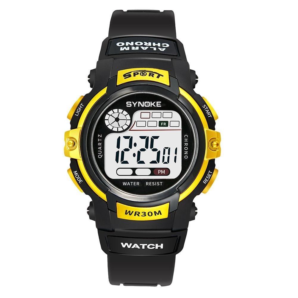 UNIhappy Students Luminous Digital Sports Children Waterproof Wristwatch Gift(Gold)