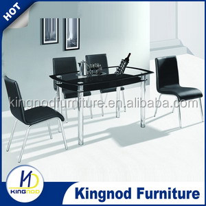 2016 Modern simple design dining table hot sale dinning table set with chair tempered glass dinning tables