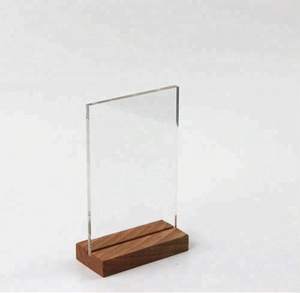 A4 A5 A6 Wood Countertop Display Table Desk Menu Price Tag Sign Holder Brochure Paper Poster Photo Frame Stand Acrylic