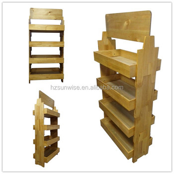 Supermarket Retail Use Pine Wood Wooden Multilayer Takedown Floor Unique Soap Display Stands