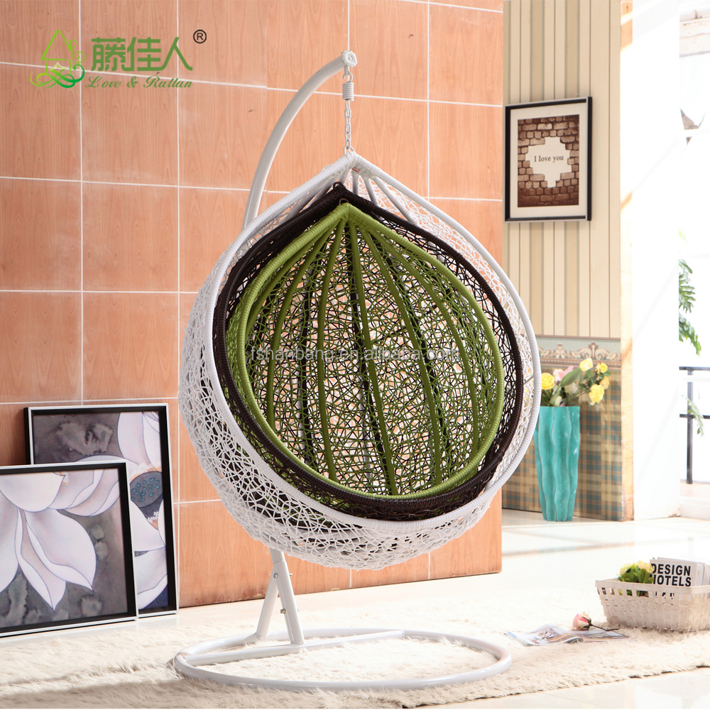 Promotional All Weather White Rattan Patio Hanging Swing