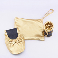 Gold and Sliver Genuine Pu Leather flat Women ballerina shoes