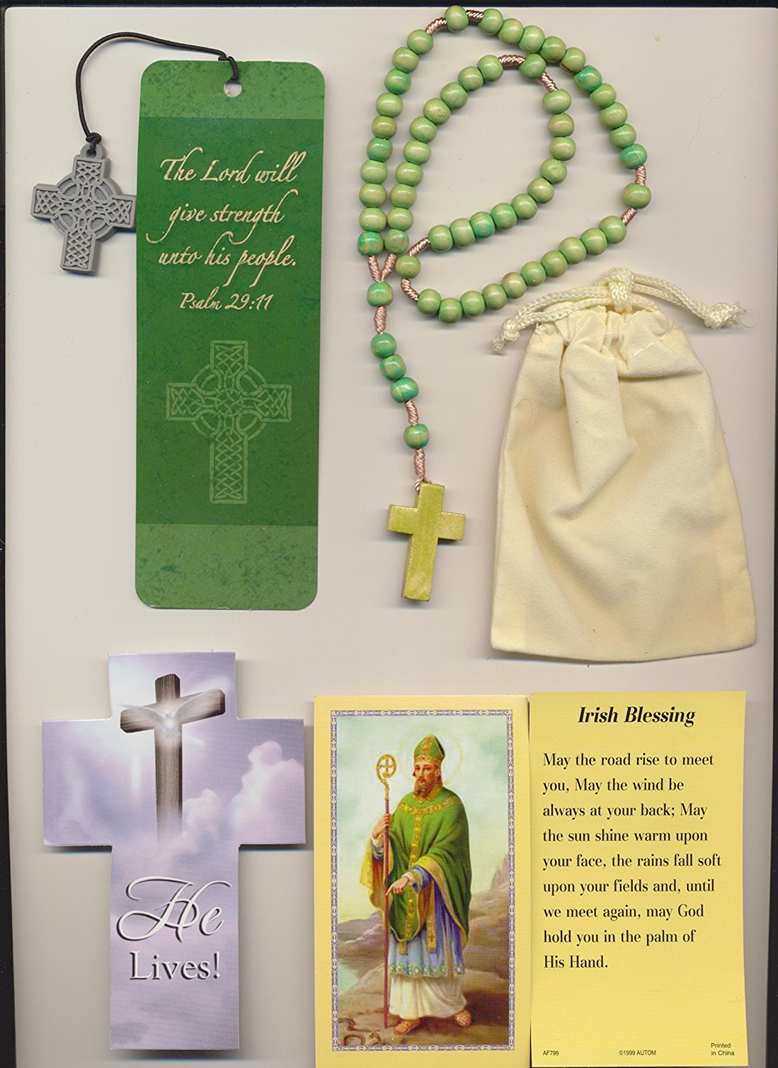 Green Wood Irish Rosary with Saint Patrick Holy Card, Celtic Religious Blessing Bookmark Plus Velour Bag and Cross Bookmark