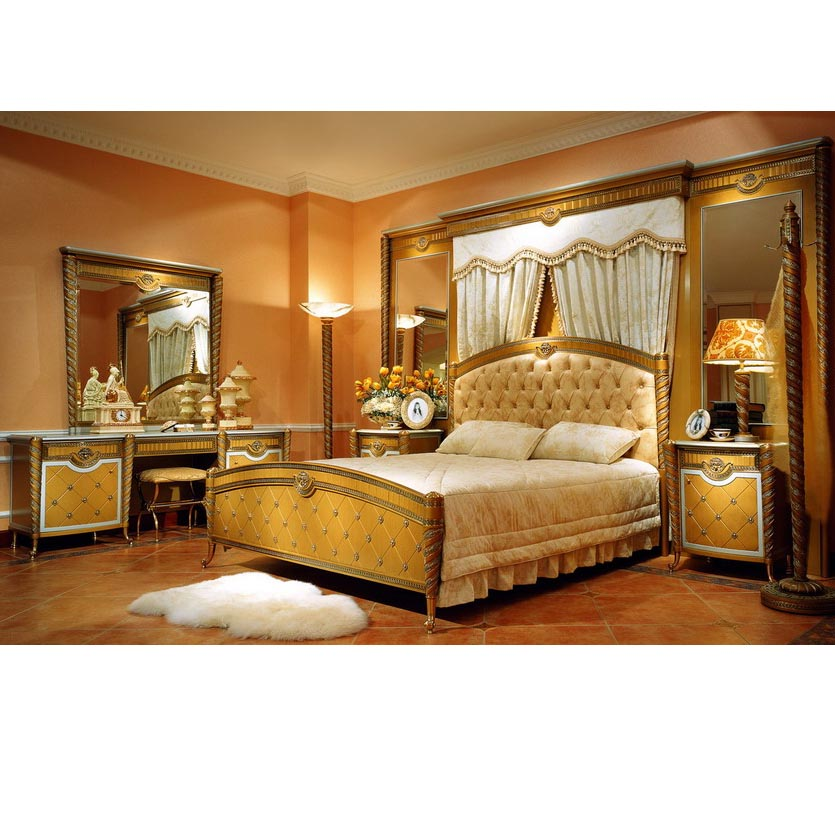 Yb16 Traditional Antique Gold Super King Size Master Solid Wood Bedroom  Furniture Alibaba Arabic Bedroom Set - Buy Royal Luxury Italy Gold Bedroom  ...