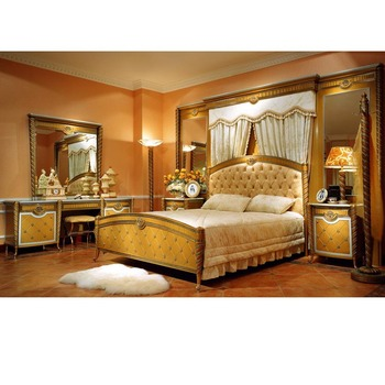 YB16 Traditional Antique Gold Super King Size Master Solid Wood Bedroom  Furniture Alibaba Arabic Bedroom Set