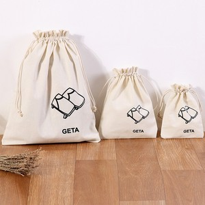 Wholesale custom white cotton canvas fabric rope drawstring bags