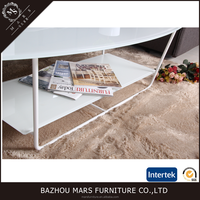 Oval tempered glass coffee table with shelf LCT-023