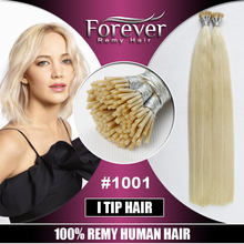 Top quality full cuticle Italian Keratin itip hair extensions 100 remy human hair