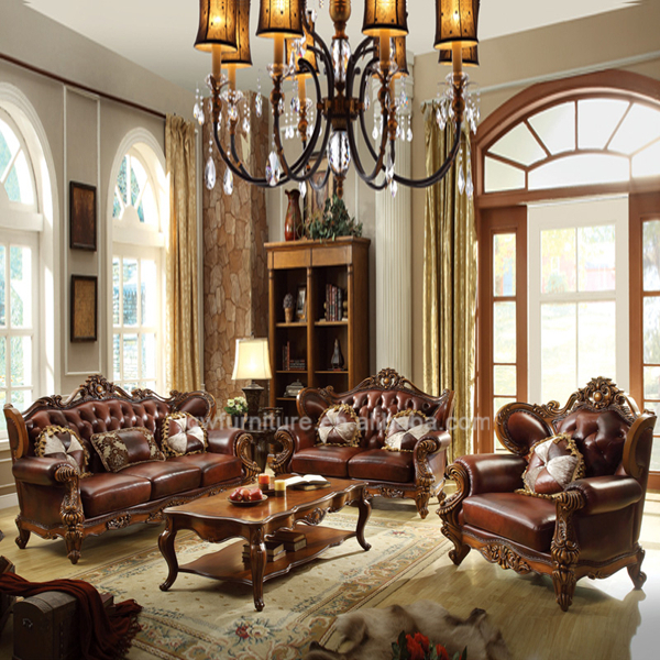 Full Leather Living Room Sofa Furniture Set Classic Wood Sofa Furniture Set