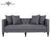 Home furniture factory with decades experience living room furniture comfortable design button tufting grey velvet 3 seater sofa