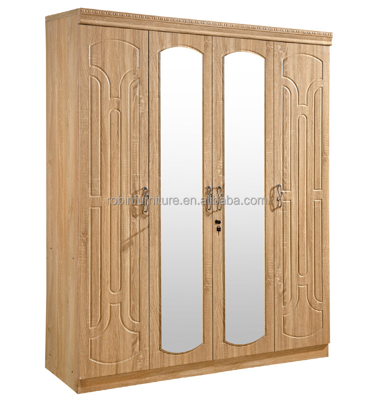 Bedroom furniture RB6914 PVC Coated wardrobe modern design MDF closet with middle double mirror
