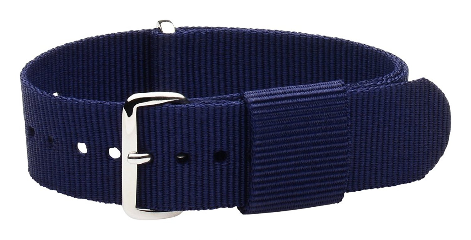 20mm Nato Ss Nylon Loop Solid Navy Blue Interchangeable Replacement Watch Strap Band