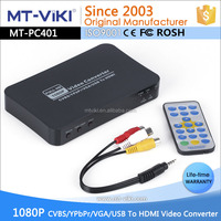 plastic housing AV/VGA/USB compnent in to hdmi out converter box