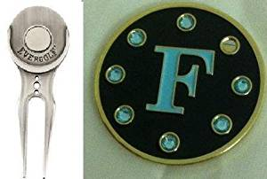 Crystal Letter Black F Golf Ball Marker w/ Divot Tool