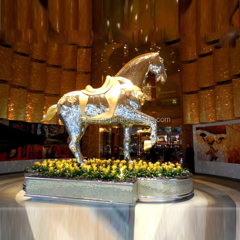gold and silver mosaic horse mannequin, fashion horse model with standing up cover with mosaic material animal doll