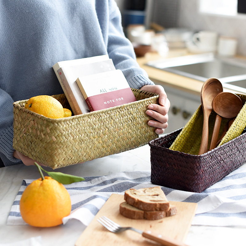 Handmade Kitchen Bedroom Seagrass Storage Basket For Sundries Tableware