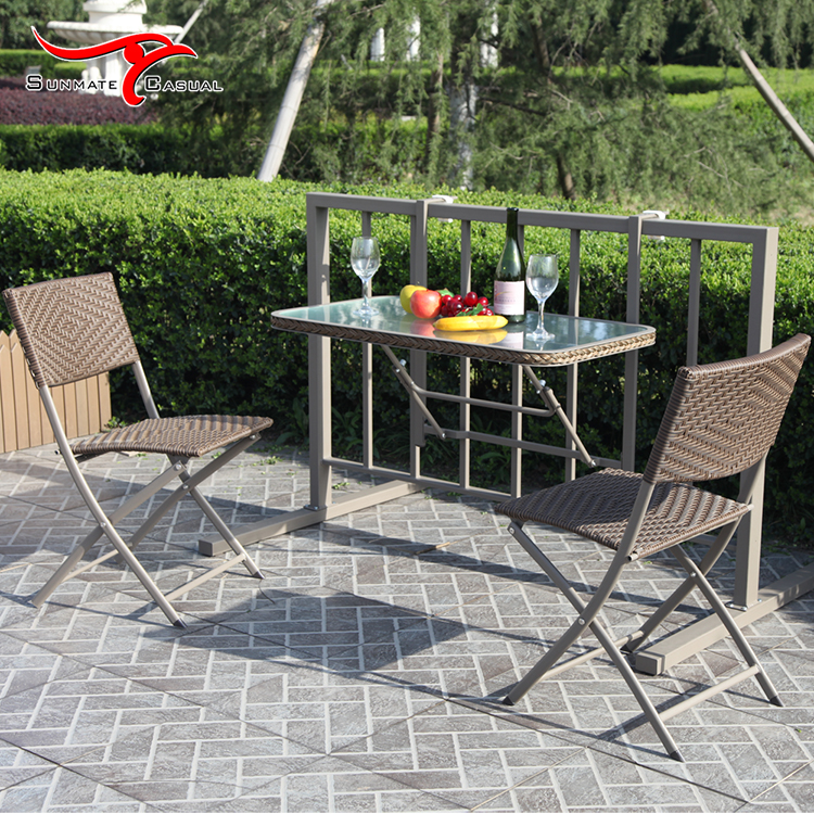Suspended Balcony Table Folding Bistro Table and Chairs Space Saving Dining Table Set