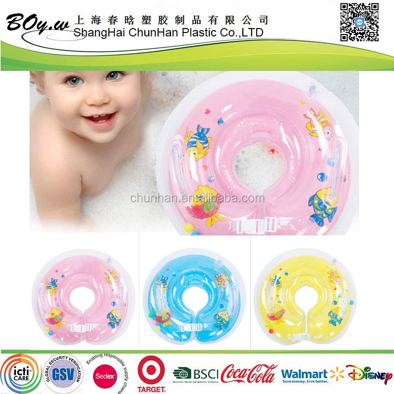 BSCI factory OEM 2 handlestiny bells pool transparent bath floating pvc baby inflatable neck tube