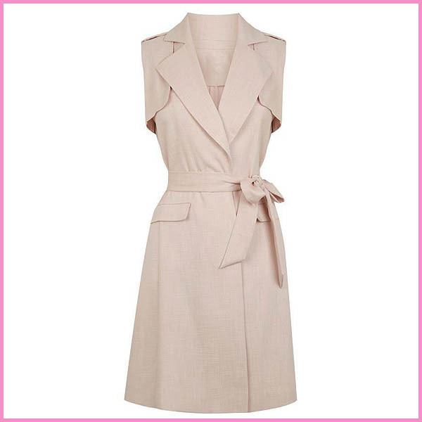 lovely longline belted sleeveless jacket,lady trench long dress coat