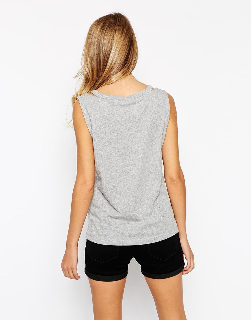 Shirt design ladies 2015 - Promotional Custom Blank Cotton Jersey Sleeveless Special Neck Design Ladies T Shirt 2015