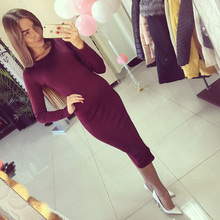 2016 Cotton Long Sleeve Knee Length Midi Dress Slim Bodycon Bandage Autumn Black Wine Red Women Dresses Bandage Q0001