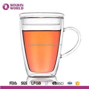 Hot Selling Fashion Heat-resistant Wholesale Clear Glass Coffee Mug With Lid