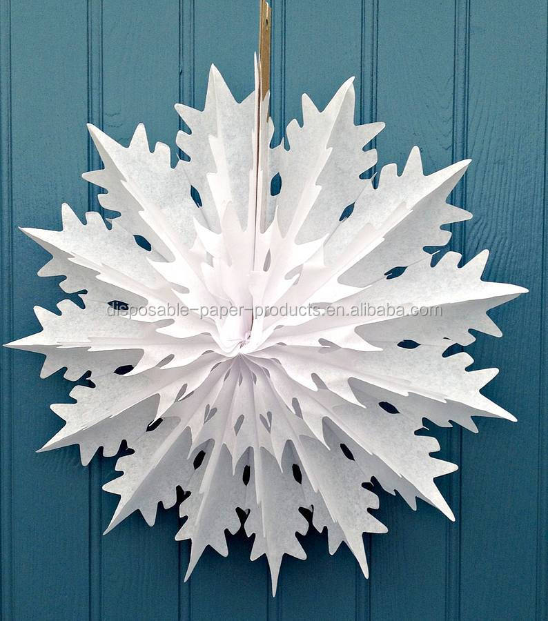 Paper Tissue Snowflake Christmas Decorations By Pearl And: 45cm White Christmas Snowflake Tissue Paper Decorations