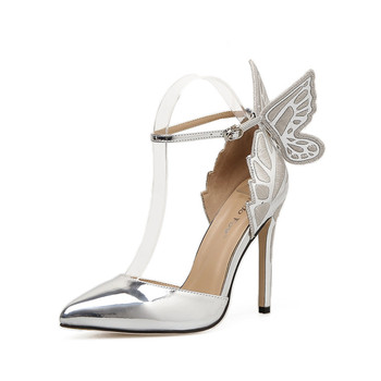7a16bdf1ad2 cheelon shoe 2018 girls rose gold embroidered butterfly ladies high heel  bridal fancy sandals