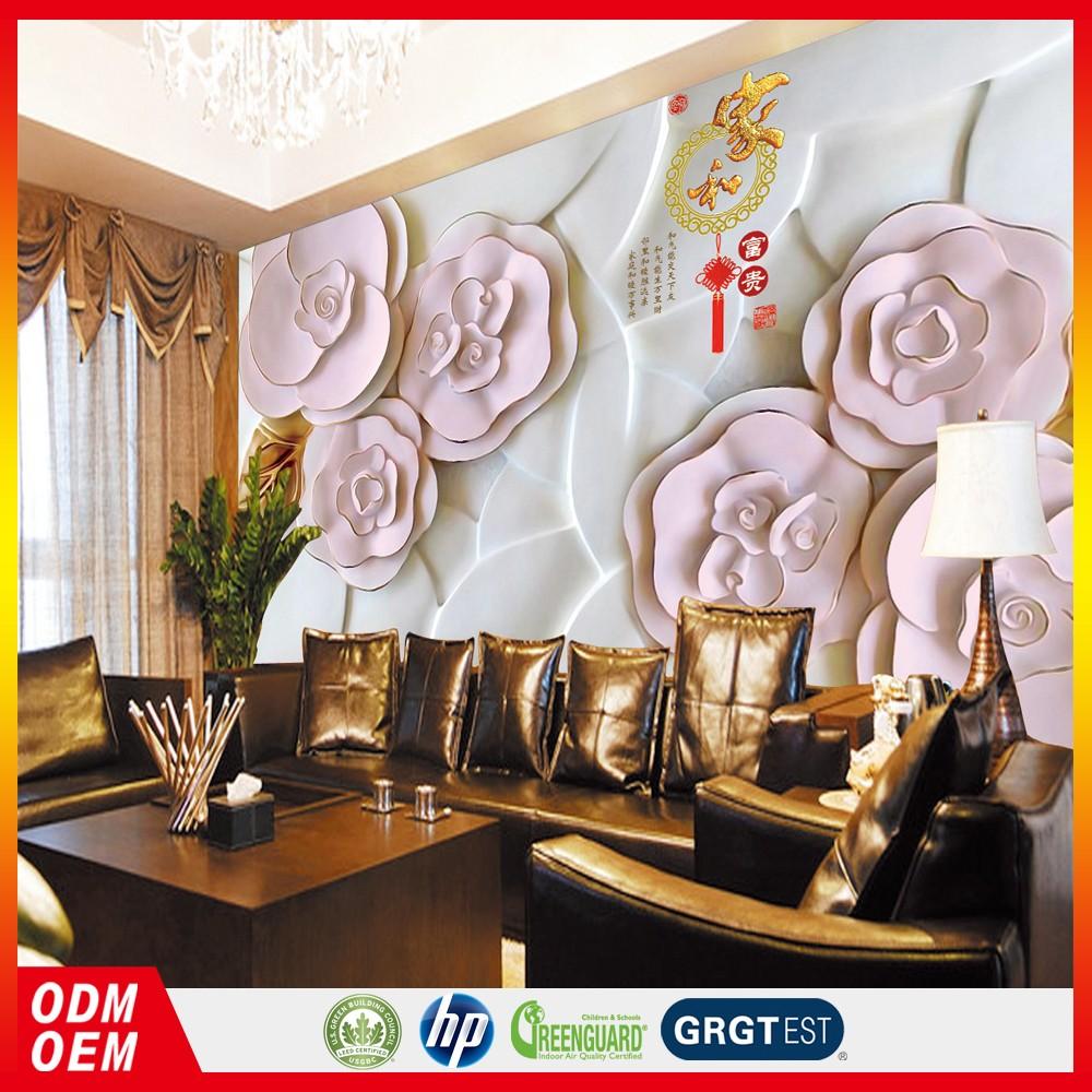 Textura 3d Rose N O Tecido Papel De Parede Quarto Mural Sala Tv  ~ Mural De Fotos Na Parede Do Quarto