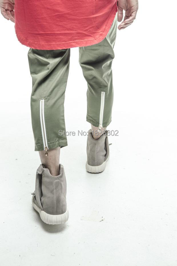 2015 NEW FNTY MEN Casual Ankle-Length Pants Brand Fashion YEEZY HBA HipHop rear Leg zipper casual pants 5 color free shipping